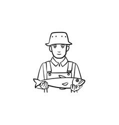 fisherman hand drawn sketch icon vector image