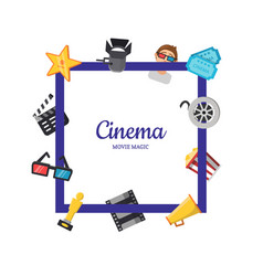 flat cinema icons frame cinema concept vector image