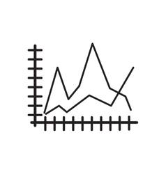 Flat icon in black and white economic graph vector