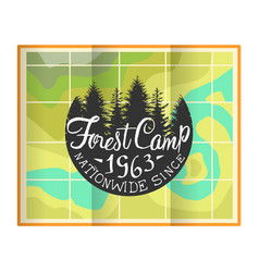 forest camp banner template retro hand drawn vector image