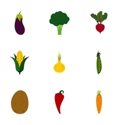 Fresh vegetables icons set flat style vector image