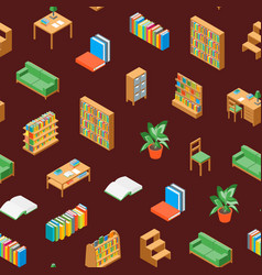 furniture for library 3d seamless pattern vector image