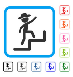 Gentleman steps upstairs framed icon vector