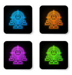 glowing neon marketing target strategy concept vector image