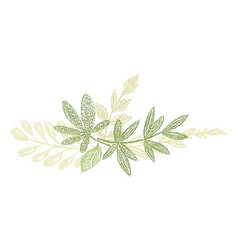 Green botanical hand drawn leaf composition vector