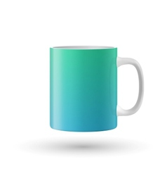 Green souvenir mug on white background vector