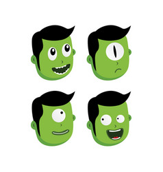 Green zombie monster character vector
