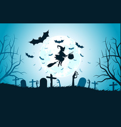 halloween background with whitch vector image
