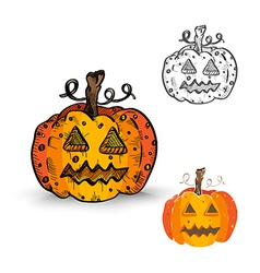 Halloween monsters isolated spooky pumpkin vector