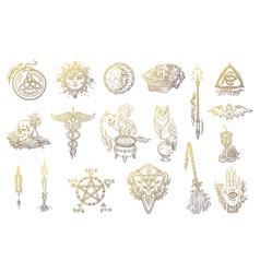 Halloween symbols set magic occult and alchemical vector