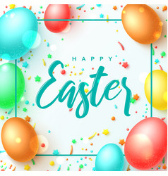 happy easter greeting banner vector image