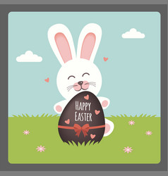 Happy easter with bunny and chocolate egg vector
