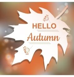 Hello autumn orange card design vector