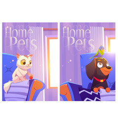 home pets cartoon posters with kitten parrot dog vector image