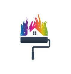 house and city paint logo vector image