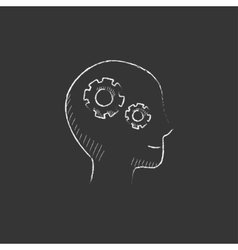 Human head with gear Drawn in chalk icon vector image