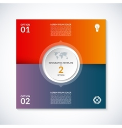 infographic square template with 2 options vector image