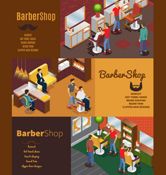 Isometric barber shop horizontal banners vector