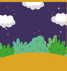 landscape night stars clouds sky bushes vector image