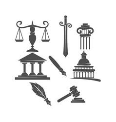 Law justice firm logo balance sword pillar gavel vector