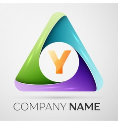 Letter Y logo symbol in the colorful triangle vector