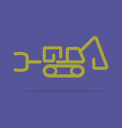 Linear tractor backhoe icon vector image
