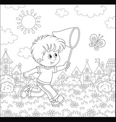 Little boy catching a butterfly vector