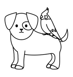 Little dog with bird adorables mascots characters vector
