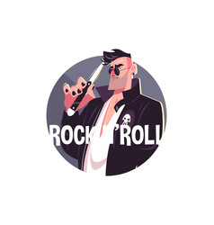 Man and rock and roll vector