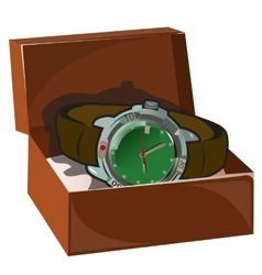 Mens classic retro watch with leather strap in box vector image