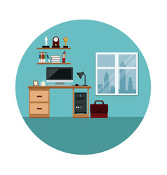 office space work computer desk lamp shelf trophy vector image
