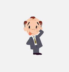 Old businessman sticks out his tongue in gesture vector