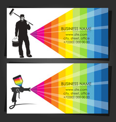 Painter in uniform business card vector