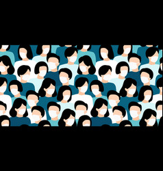people crowd in white medical face mask concept vector image