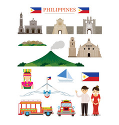 Philippines landmarks architecture building vector