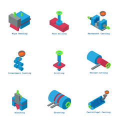 physical test icons set isometric style vector image