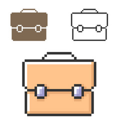 Pixel icon briefcase in three variants fully vector