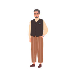 portrait elegant senior gray-haired man in vector image