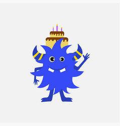 purple monster with birthday cake on white vector image
