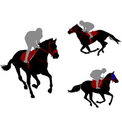 Race horses and jockeys silhouettes vector