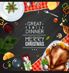 Realistic turkey thankgiving day christmas frame vector