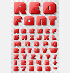 red font 3d on a transparent background vector image vector image