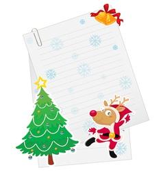 Reindeer and paper vector