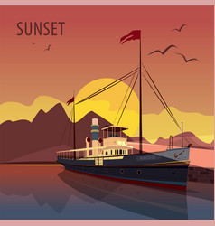 Retro cruise ship at the pier at sunset vector