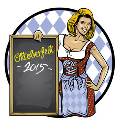 retro of oktoberfest girl lean on the blackboard vector image