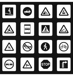 Road signs icons set simple style vector image