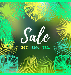 Sale background discount card with tropic vector