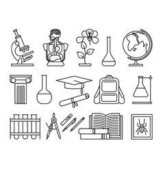 Science and education thin line icons vector