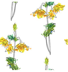 seamless pattern with yellow flower vector image