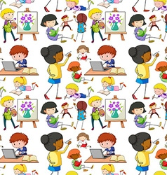 Seamless people doing different activities vector image